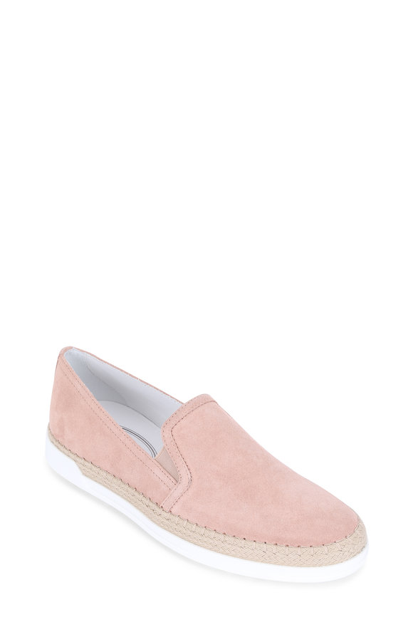 Tod's Gomma Blush Suede Espadrille Sneaker