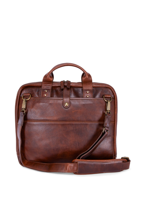 Moore & Giles Jay Titan Milled Brown Briefcase