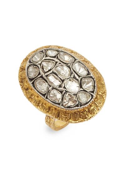 Loren Jewels - Yellow Gold Diamond Oval Rose-Cut Diamond Ring