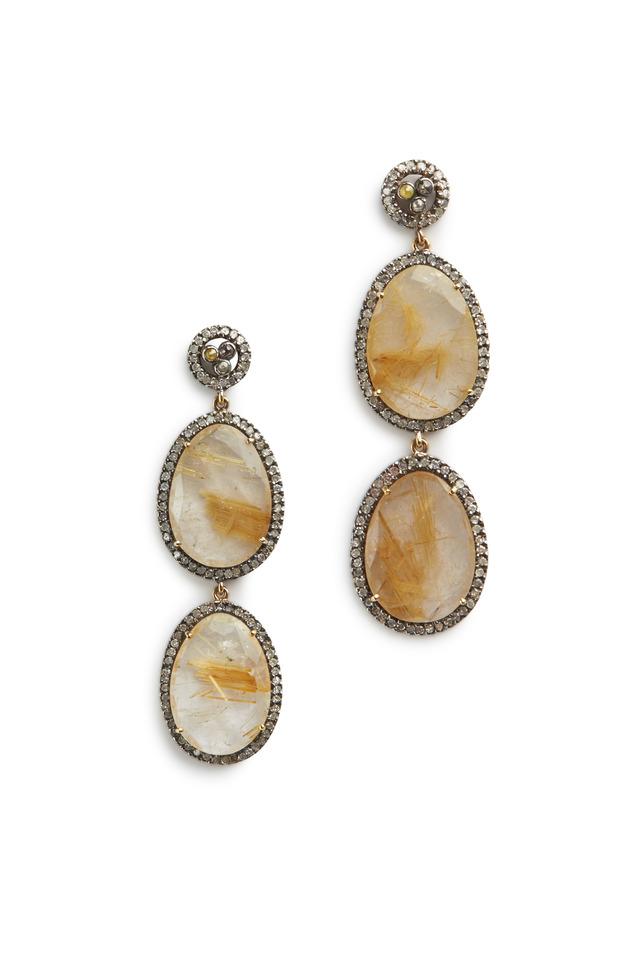 Sterling Silver Two Drop Quartz Stone Earrings