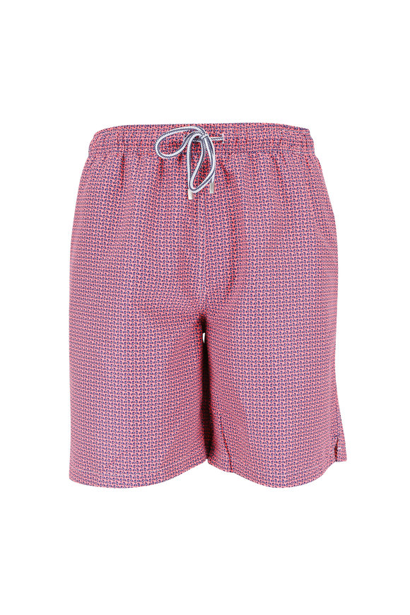 Peter Millar Pink Coral Paisley Swim Trunks