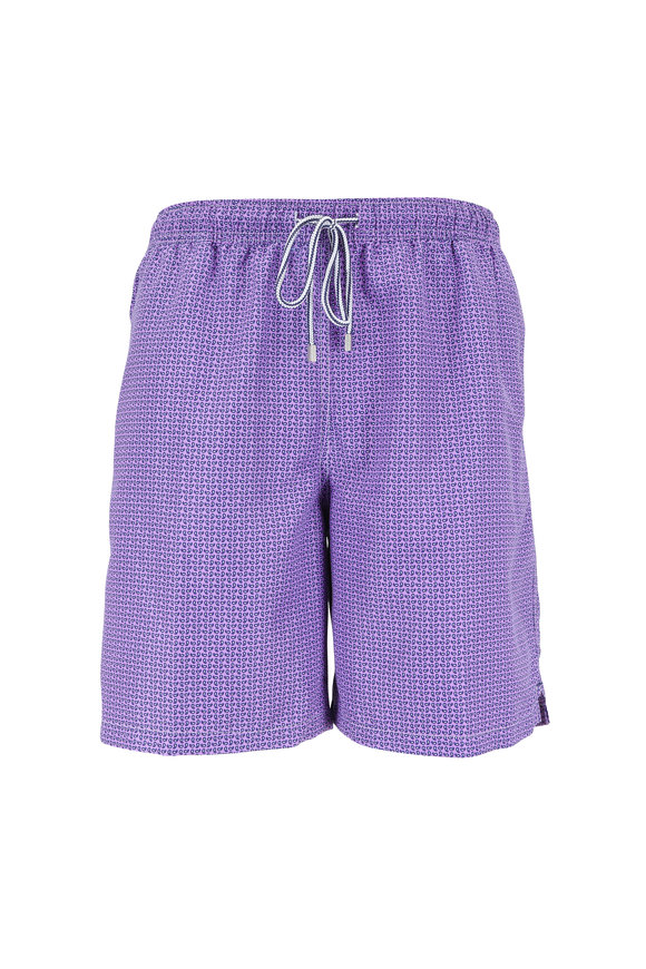Peter Millar Purple Dragonfly Paisley Swim Trunks