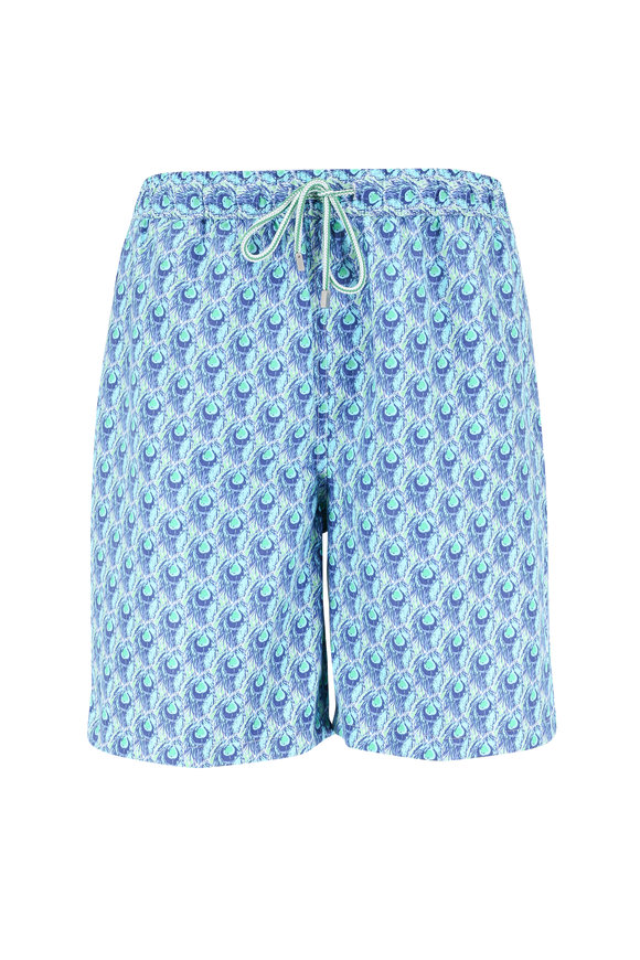 Peter Millar Turquoise Seaweed Peacock Swim Trunks