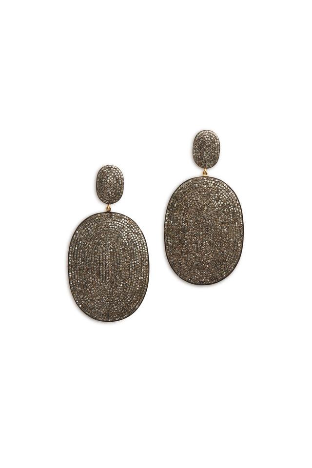 Sterling Silver Oval Pavé-Set Diamond Earrings