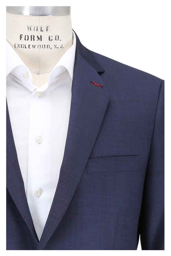 Samuelsohn Solid Navy Blue Wool Suit