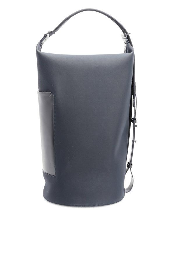 Troubadour Navy Blue Nylon & Leather Barrel Bag