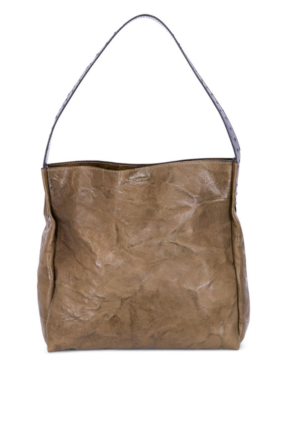 B May Bags Loden Sheepskin Ostrich Handle Small Hobo