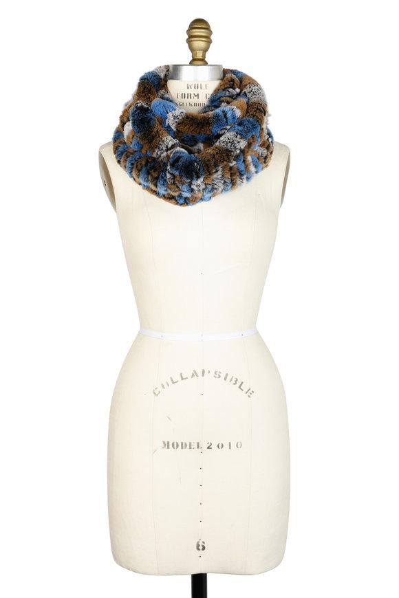 Viktoria Stass Blue & Camel Fur Infinity Scarf