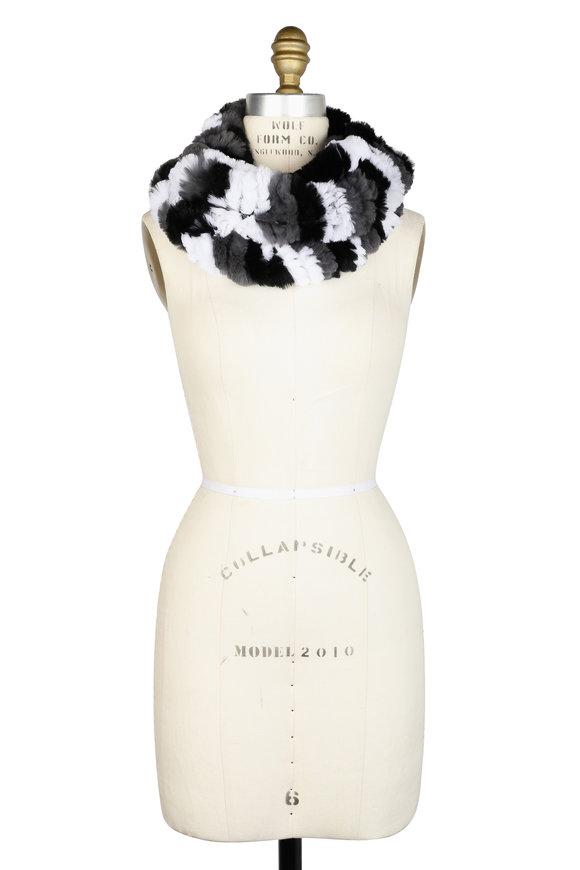 Viktoria Stass White, Black & Gray Fur Infinity Scarf