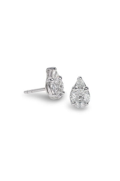 Nam Cho - 18K Rose Gold Invisible Diamond Studs