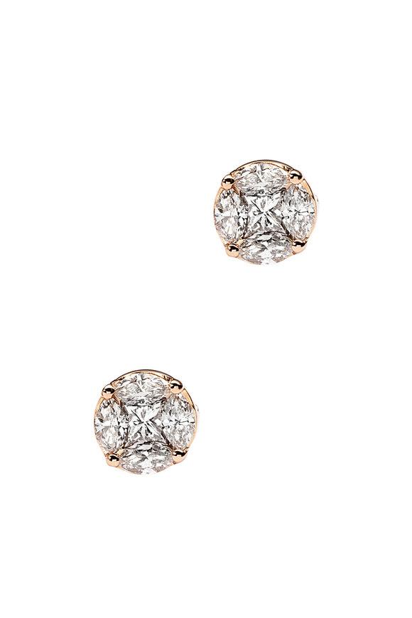 Nam Cho 18K Rose Gold Invisible Diamond Studs