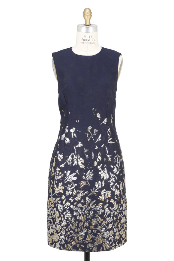 Oscar de la Renta Navy Metallic Floral Cloqué Sleeveless Dress