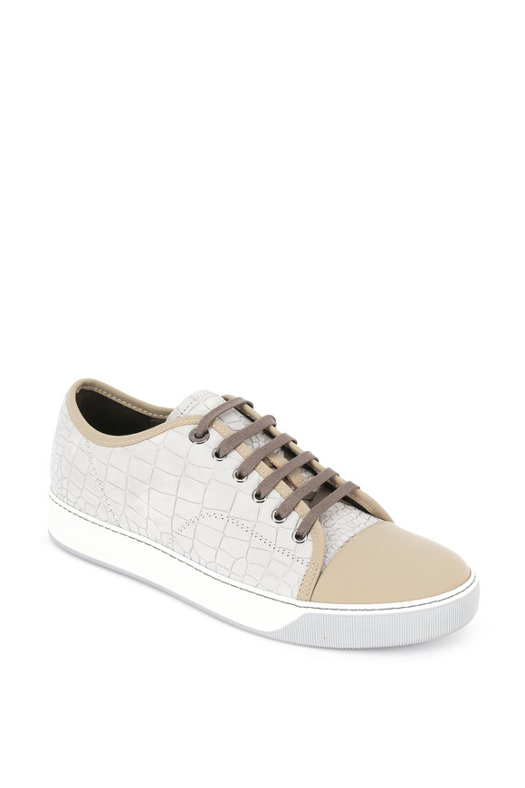 Lanvin Gray Embossed Leather Low Top Sneaker