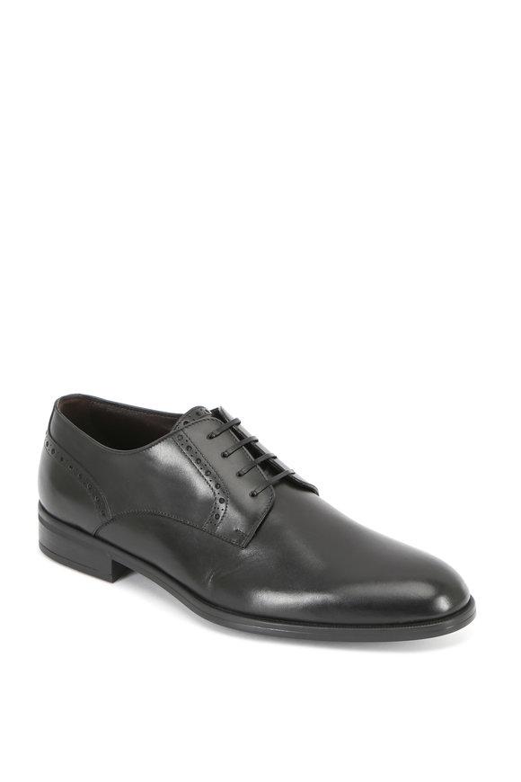 Ermenegildo Zegna Black Leather Derby Shoe