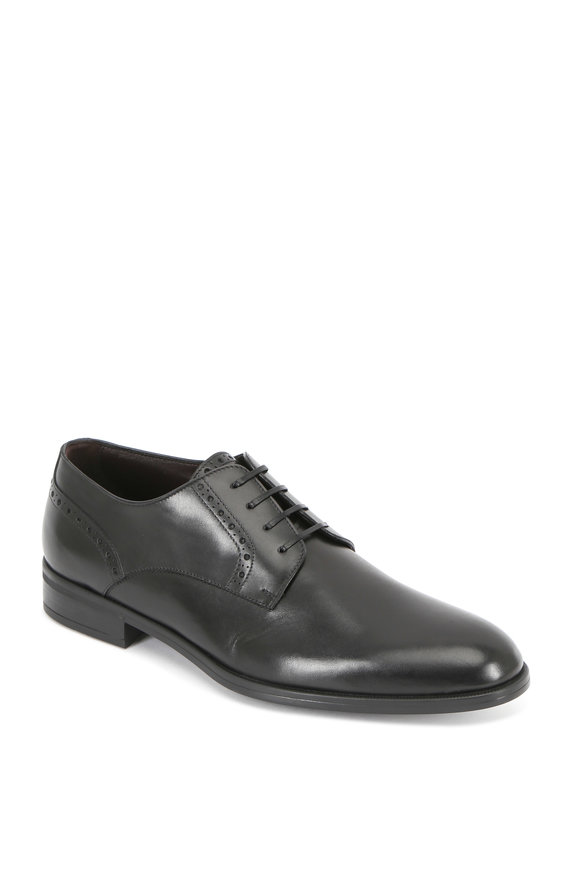 Ermenegildo Zegna Black Leather Derby Shoe
