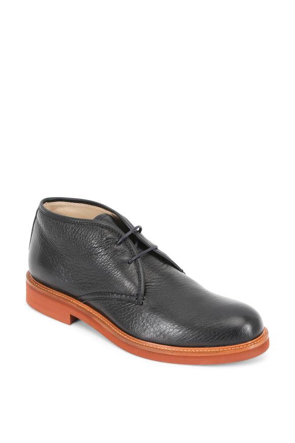 Ermenegildo Zegna Trivero Medium Blue Textured Leather Chukka Boot