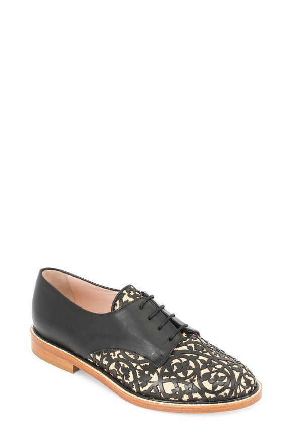 Oscar de la Renta Tilda Black Raffia & Laser-Cut Leather Oxford