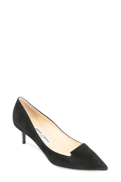 Jimmy Choo - Allure Black Suede Notched Pump, 50mm