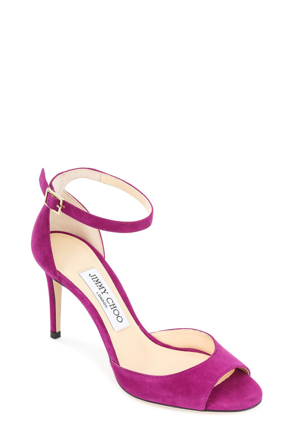 Jimmy Choo Annie Magenta Suede Ankle Strap Sandal, 85mm