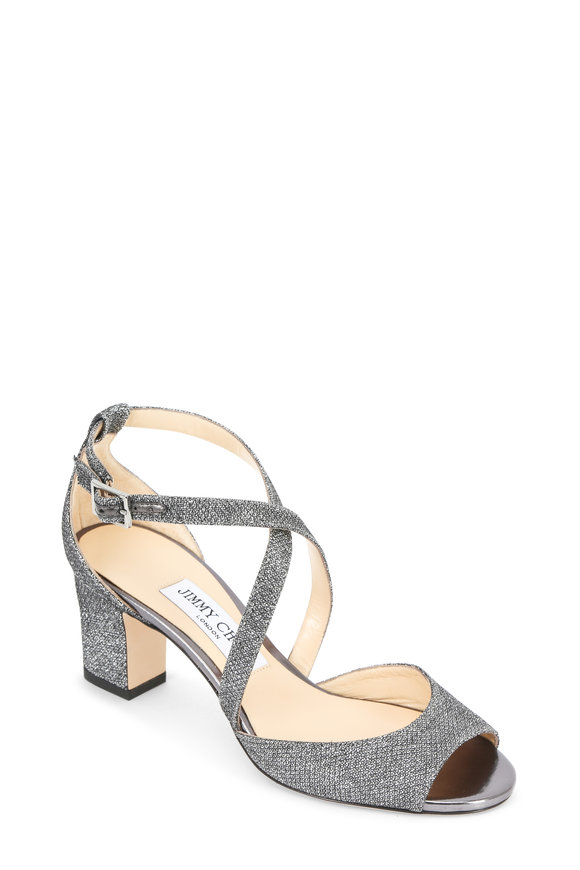 Jimmy Choo Carrie Anthracite Lame Criss-Cross Sandal, 65mm