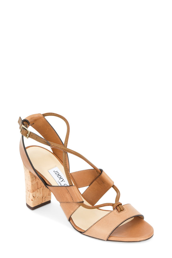 Jimmy Choo Margo Tan Leather Tie-Up Cork Heel Sandal, 80mm