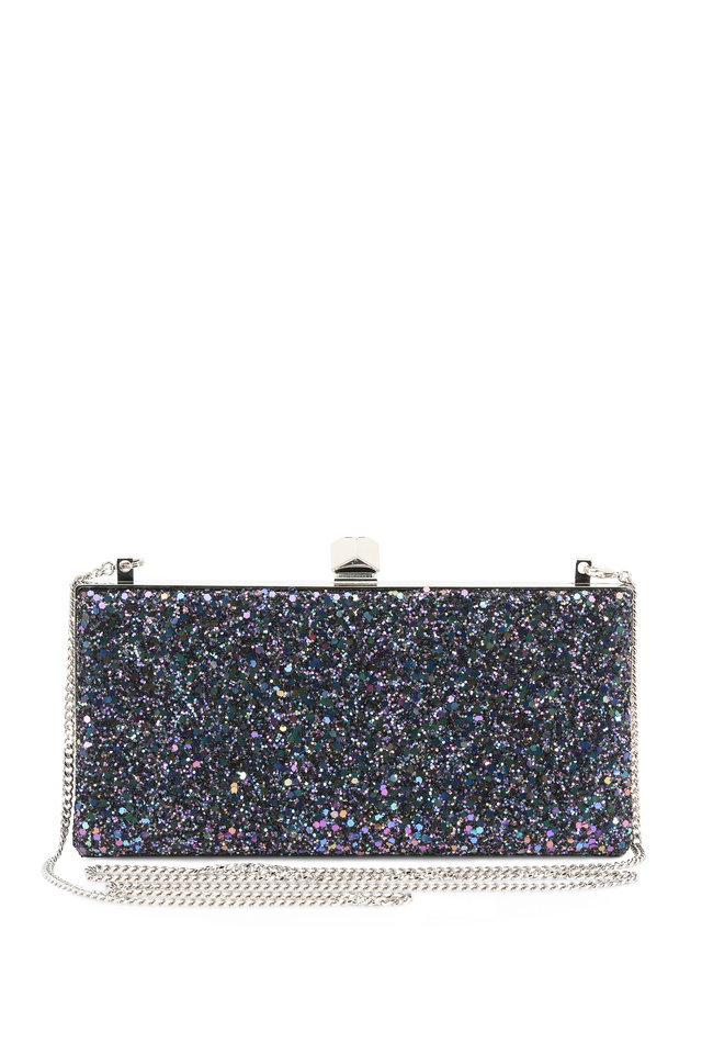 Celeste Glitter Evening Clutch With Chain