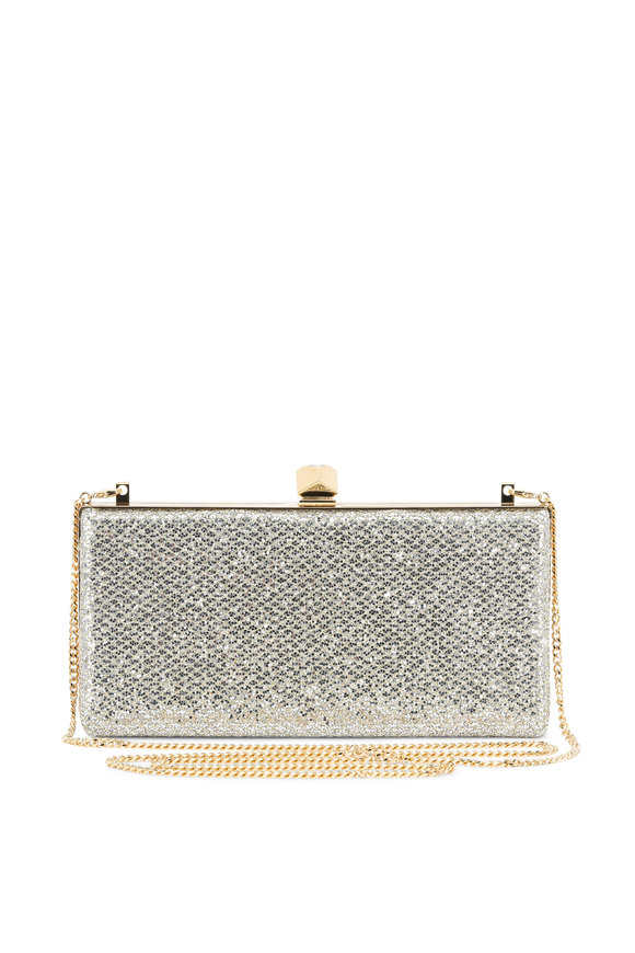 Jimmy Choo Celeste Champagne Glitter Box Evening Clutch