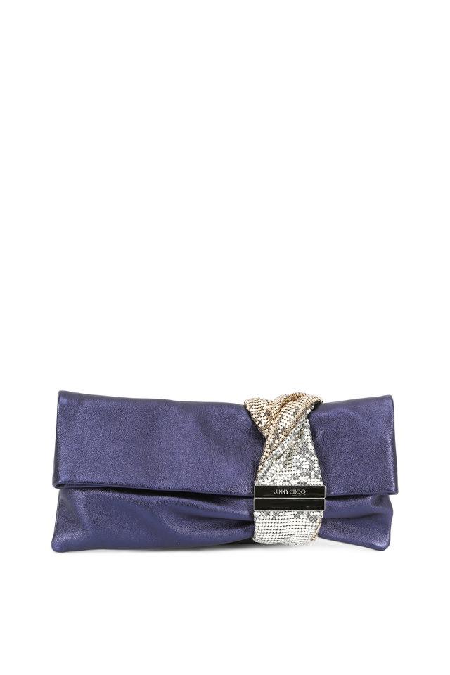 Navy Metallic Leather Chain Mail Bracelet Clutch