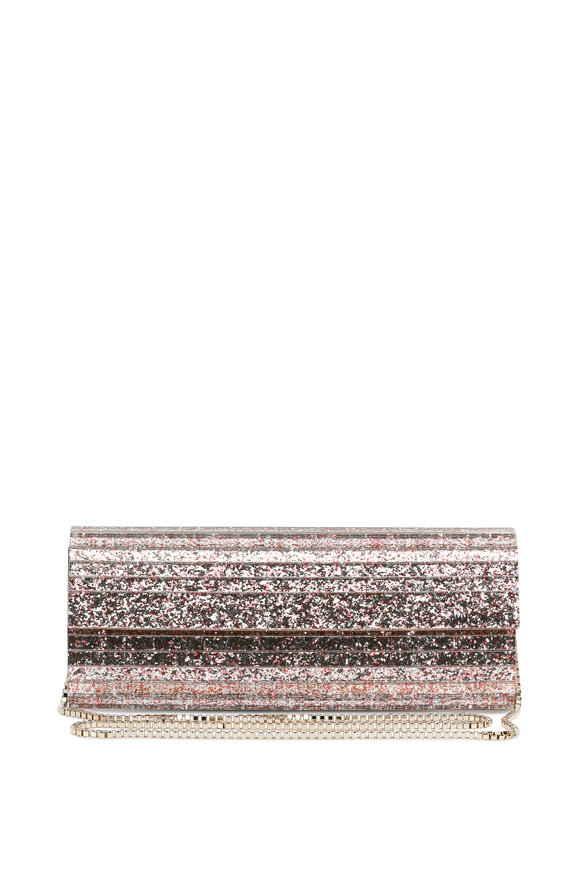 Jimmy Choo Sweetie Camellia Mix Glitter Acrylic Chain Clutch