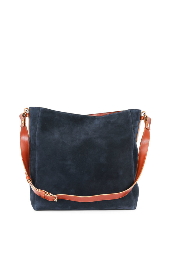 Lanvin New Hobo Navy Blue Suede Large Tote