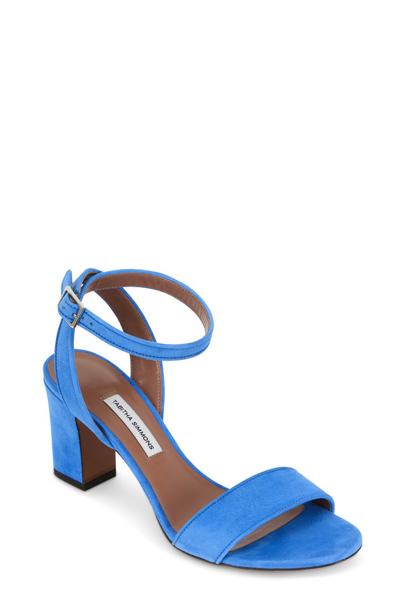 Tabitha Simmons Leticia Marine Suede Block Heel Sandal, 75mm