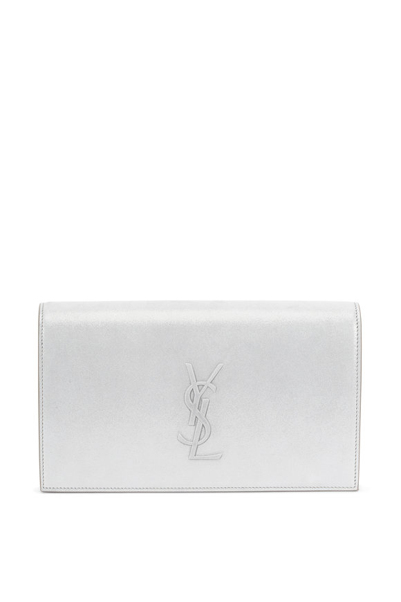 Saint Laurent Kate Silver Burma Suede Stamped Logo Clutch