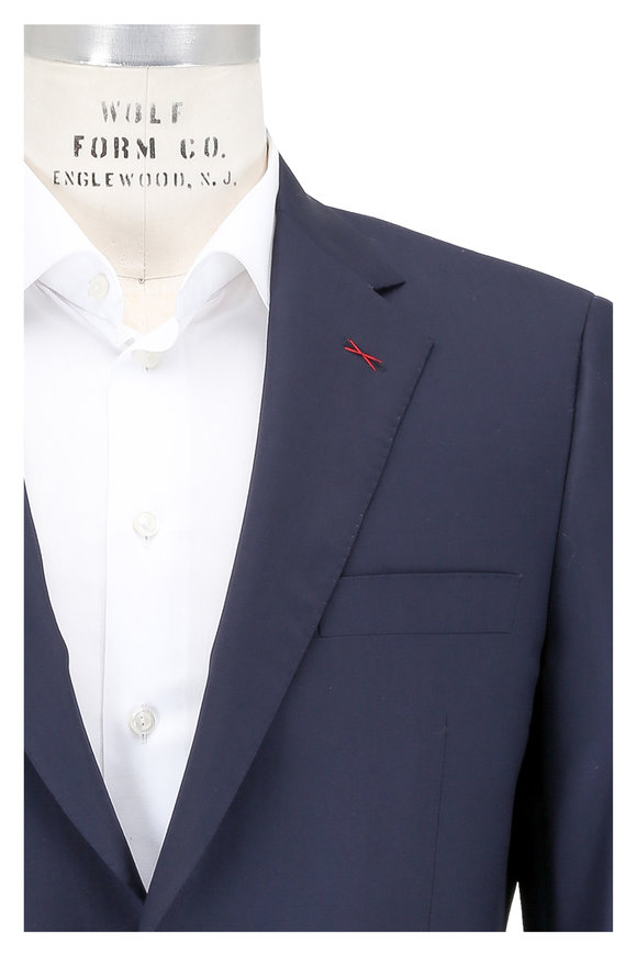 Samuelsohn Solid Navy Blue Wool & Silk Suit