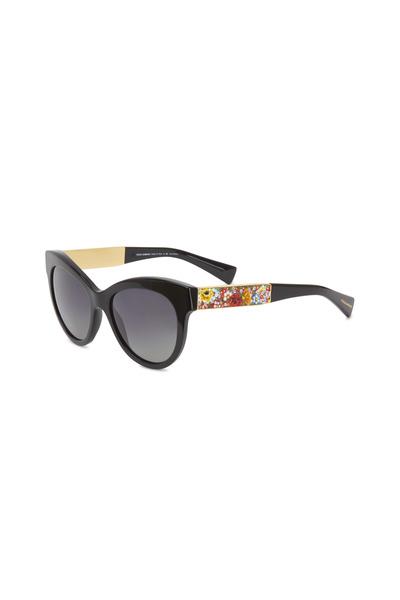 Dolce & Gabbana - Round Black & Paisley Sunglasses