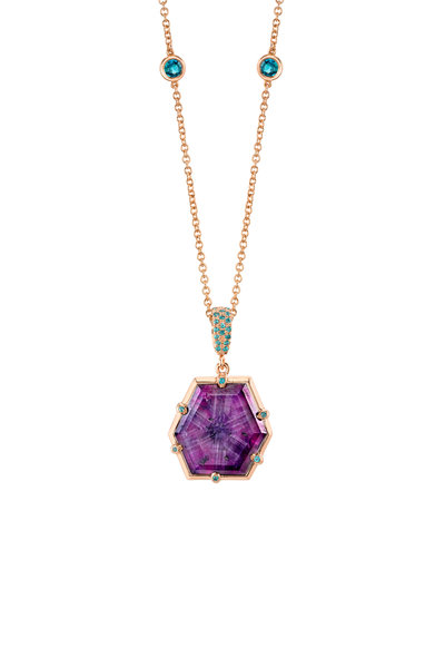 Omi Privé - 18K Rose Gold Purple Sapphire Trapiche Pendant