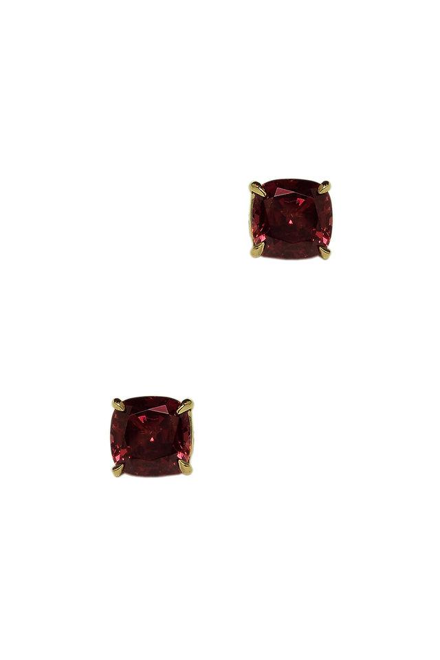 18K Rose Gold Red Garnet Studs