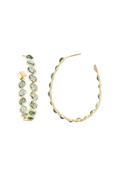 Paolo Costagli - 18K Yellow Gold Green Sapphire Hoops