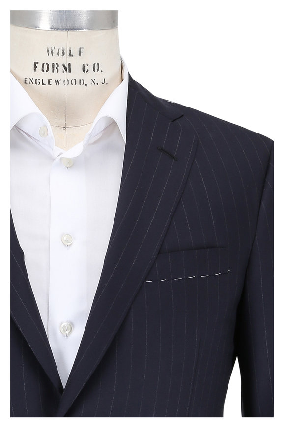 Oxxford Clothes Midnight Blue Striped Wool Suit