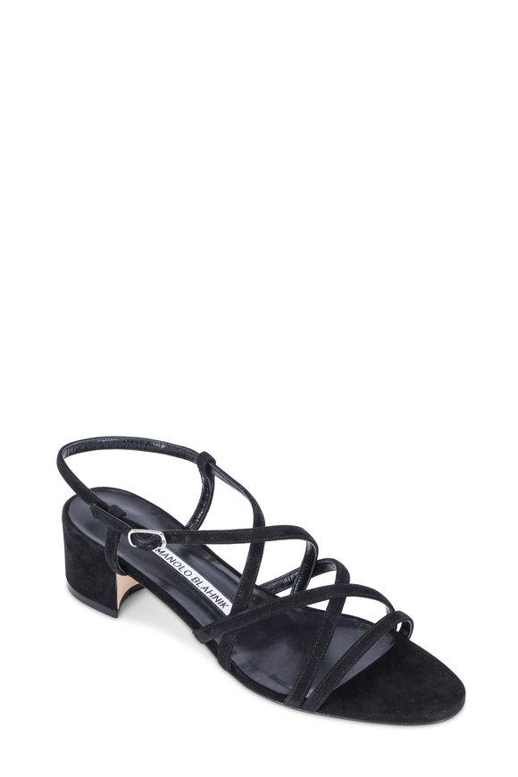 Manolo Blahnik Atrita Black Suede Strappy Sandal, 30mm