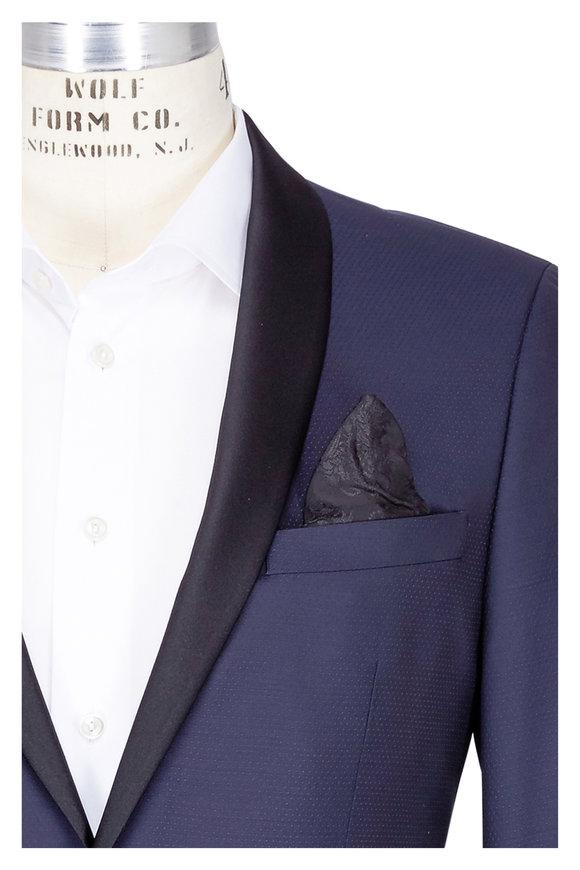 Sand Craig Navy Tonal Dot Tuxedo Jacket