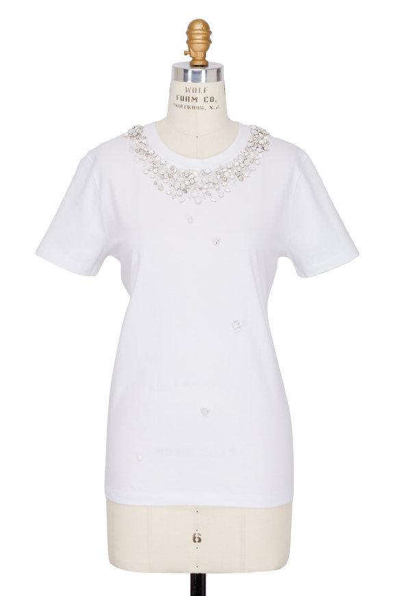 Jonathan Simkhai White Jeweled Short Sleeve T-Shirt