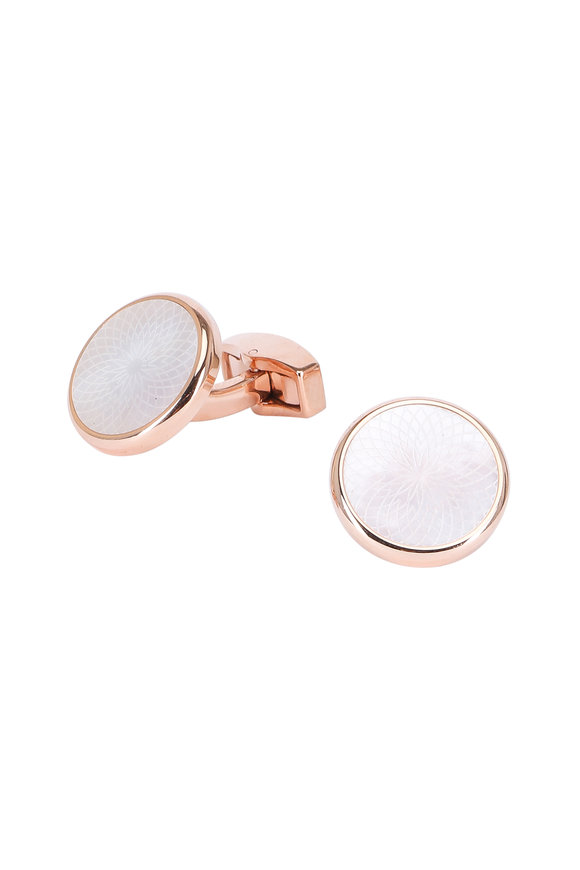 Tateossian Rose Gold & Mother-Of-Pearl Cuff Links