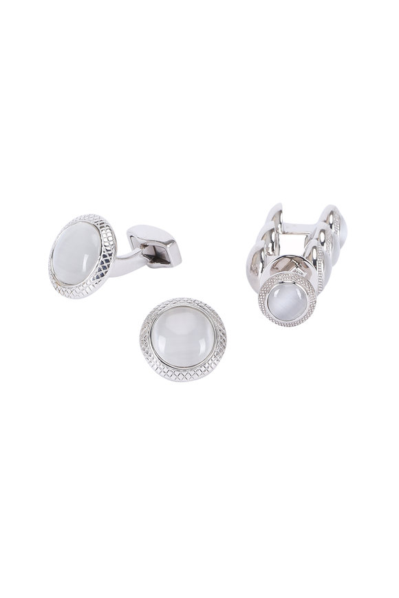 Tateossian White Fiber Optic Glass Cufflink & Stud Set