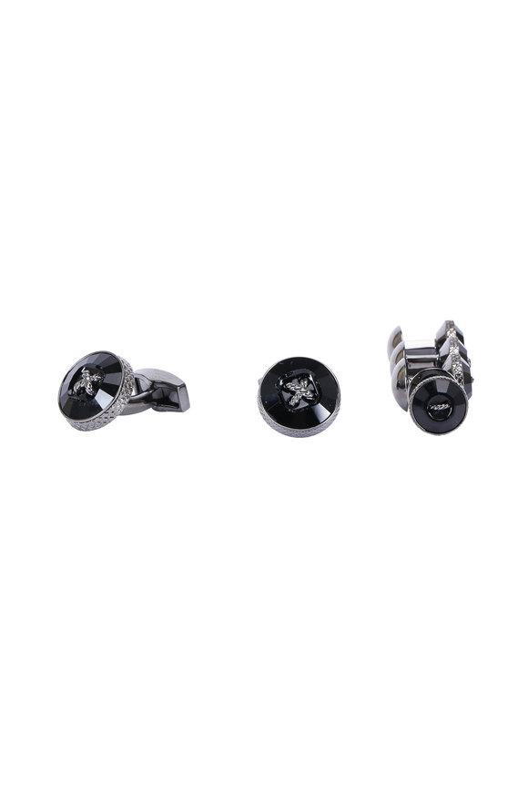 Tateossian Gunmetal & Black Swarovski Cuff Link & Stud Sets
