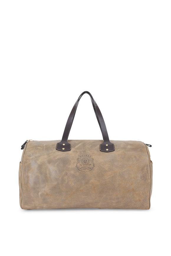 Ghurka Grove Truffle Rugged Leather Duffel Bag