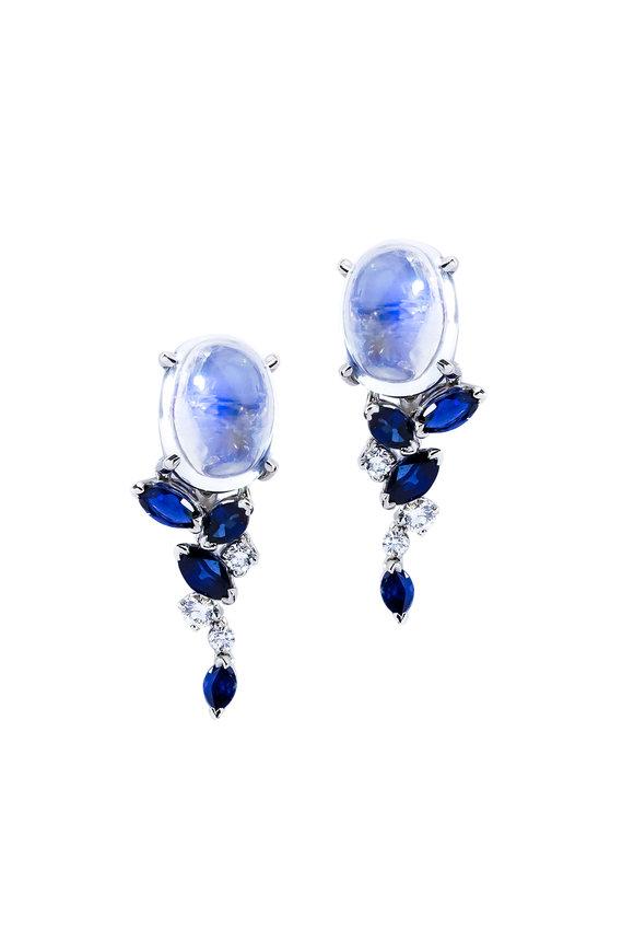 Oscar Heyman Platinum Moonstone, Sapphire & Diamond Earrings
