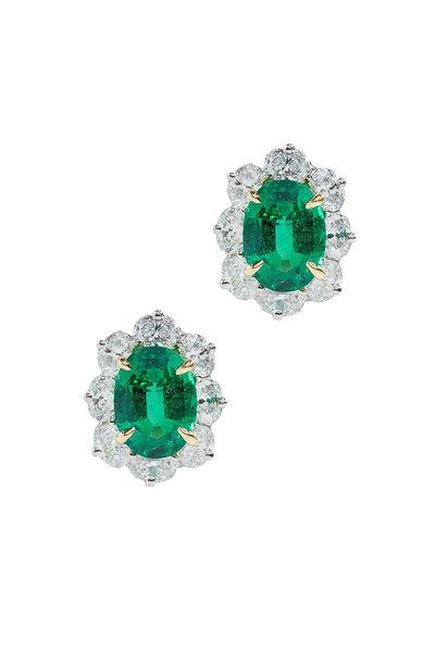 Oscar Heyman - Platinum Emerald & Diamond Earrings