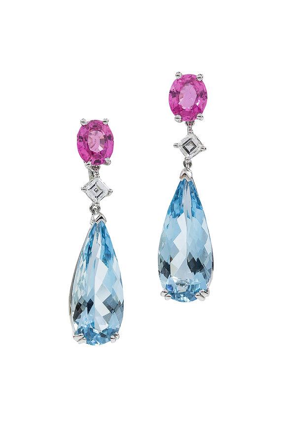 Oscar Heyman Platinum Pink Sapphire & Aquamarine Drop Earrings