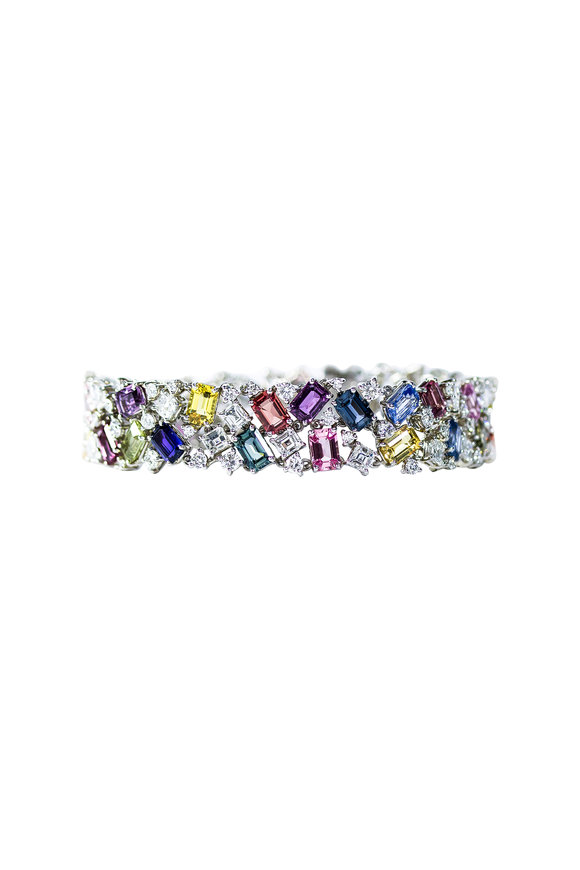 Oscar Heyman Platinum Multi Sapphire Bracelet