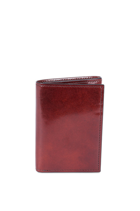 Bosca Dark Brown Leather Double ID Tri-Fold Wallet